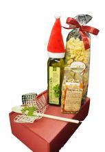 Weihnachtsgeschenk mit Pasta, Olivenöl und Sugo-Gewürz